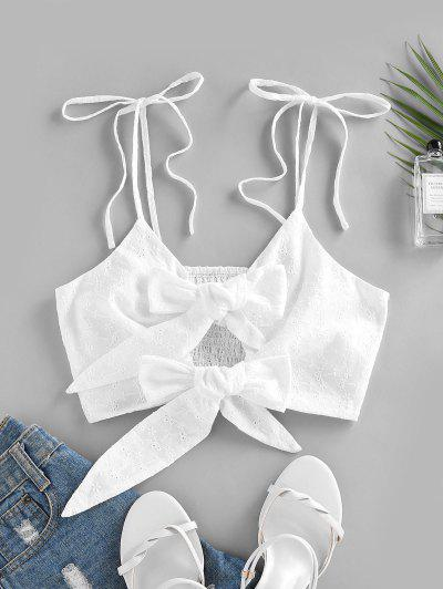 ZAFUL Bowknot Broderie Anglaise Smocked Crop Top - Milk White S