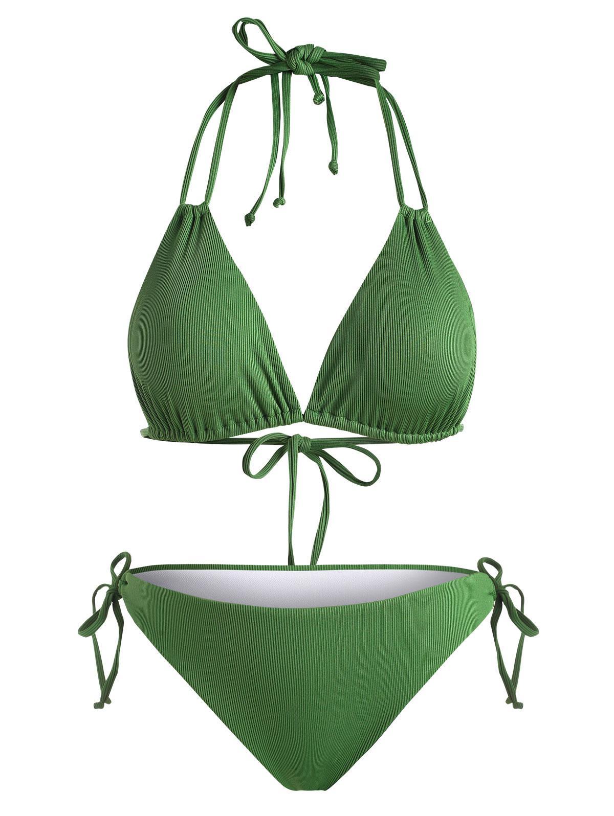 ZAFUL Plus Size Halter Tie Side Ribbed Bikini Swimwear