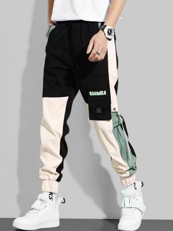 fashion Letter Print Applique Contrast Cargo Pants - BLACK M