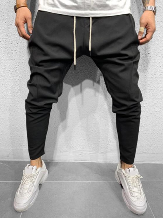 Pantalones Cónicos de Cintura Elástica de Color Sólido - Negro L