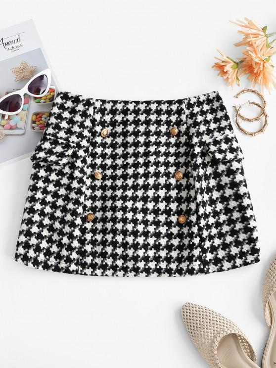 womens Houndstooth Metallic Buttons Tweed Skirt - BLACK L