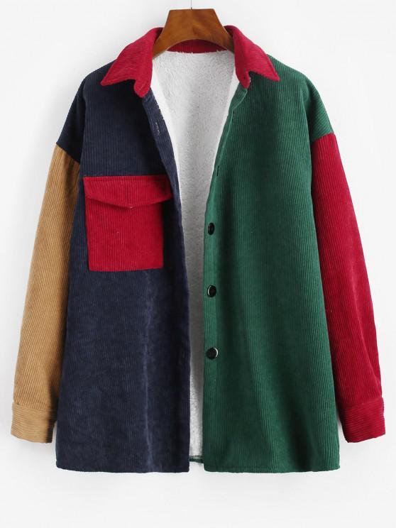 affordable Fleece Lined Colorblock Corduroy Shacket - DEEP GREEN L