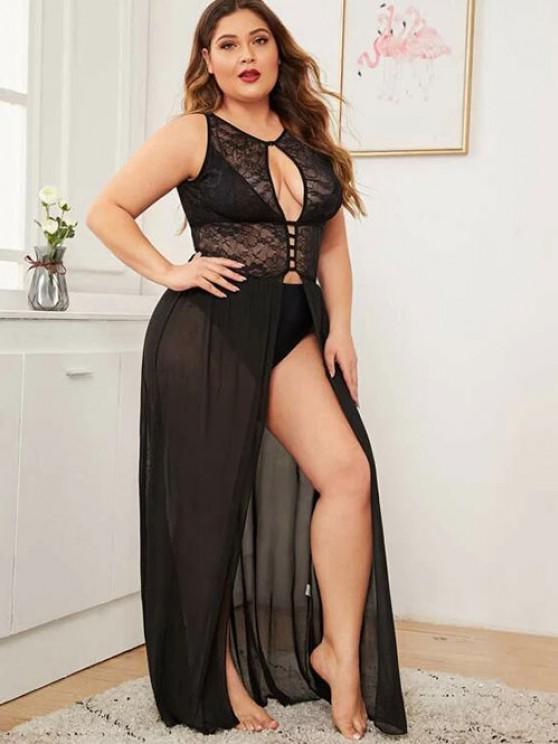 latest Plus Size Cutout Lace and Mesh Lingerie Gown - BLACK 1XL