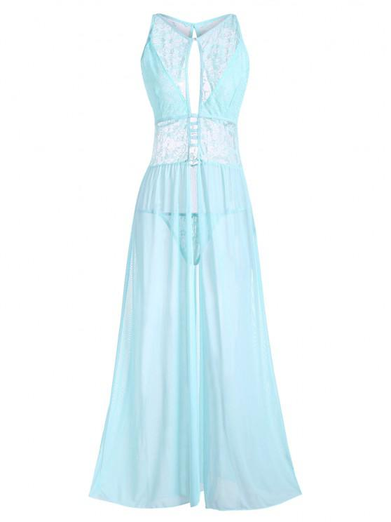 affordable Plus Size Cutout Lace and Mesh Lingerie Gown - LIGHT BLUE 4XL