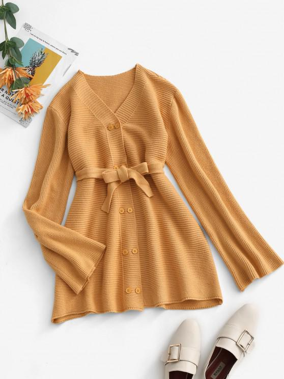 outfit Belted V Neck Double Breasted Cardigan - LIGHT COFFEE ONE SIZE