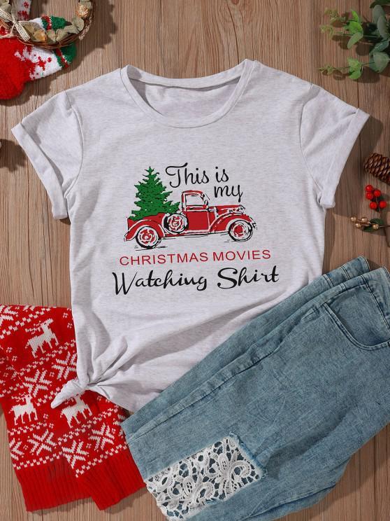 T-shirt Lettre Graphique Amusant et Aimant de la Voiture pour Noël - Gris Clair L