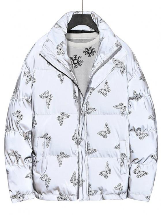 Reflective Butterfly Print Puffer Jacket - أسود XL