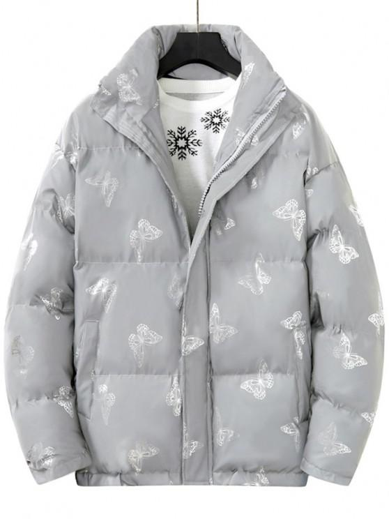 women's Reflective Butterfly Print Puffer Jacket - SILVER L
