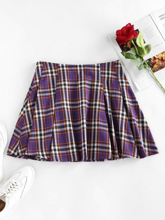 shops ZAFUL High Waist Plaid Pleated Mini Skirt - PURPLE AMETHYST XL