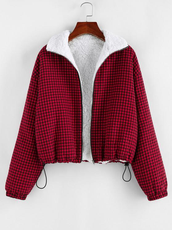 hot ZAFUL Gingham Drop Shoulder Faux Fur Lining Coat - BROWN SUGAR S