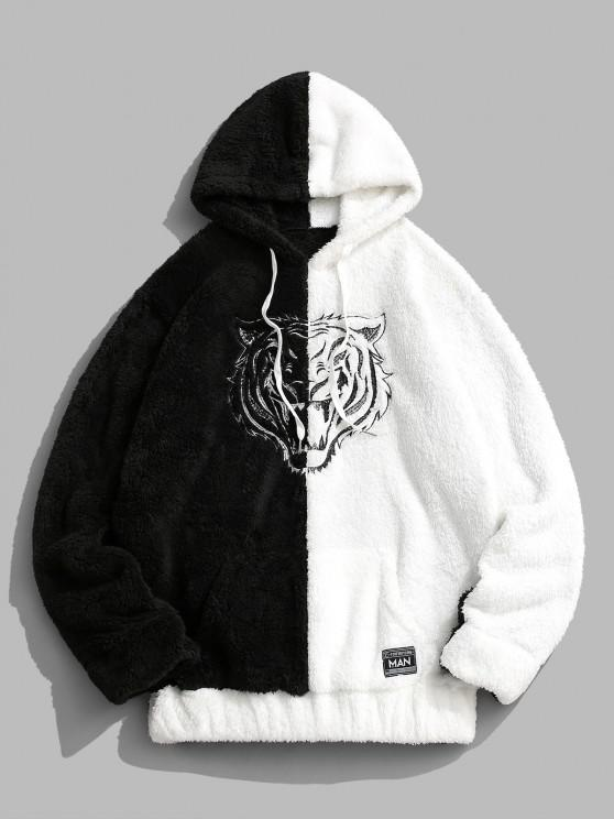 unique Two Tone Tiger Embroidery Fluffy Hoodie - BLACK 2XL