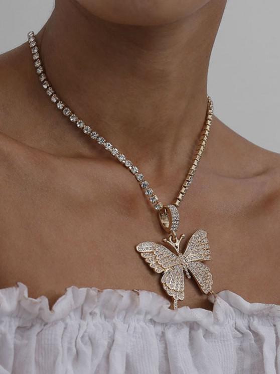 sale Big Butterfly Pattern Rhinestone Necklace - GOLDEN