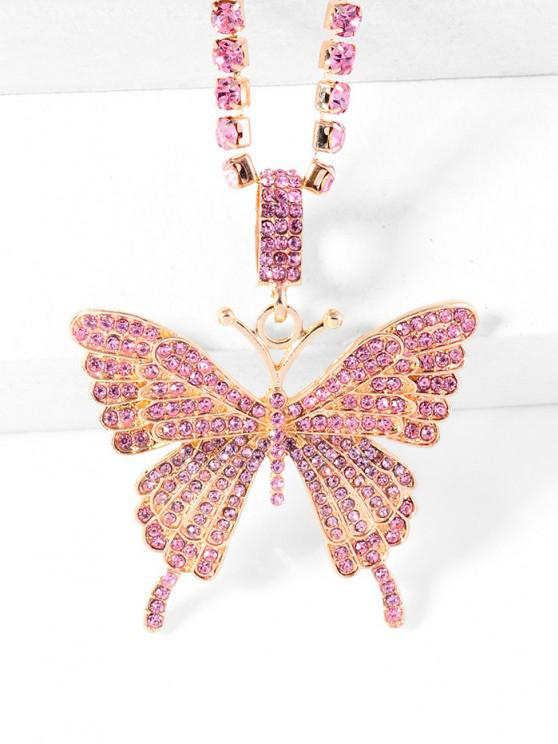 womens Big Butterfly Pattern Rhinestone Necklace - LIGHT PINK