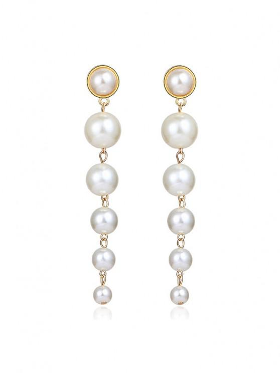 online Faux Pearl Tassels Drop Earrings - GOLDEN