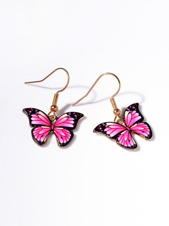 hot Retro Butterfly Shape Pendant Dangle Earrings - LIGHT PINK