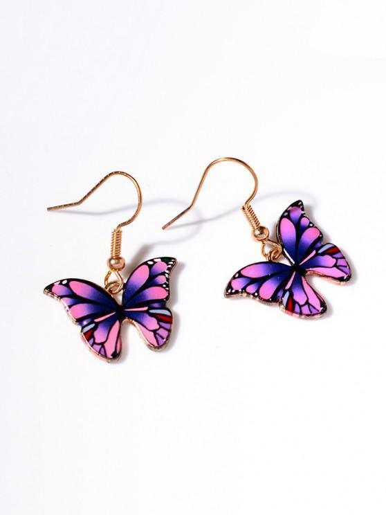 outfit Retro Butterfly Shape Pendant Dangle Earrings - PURPLE
