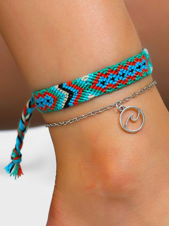hot 2Pcs Sea Wave Hand-woven Anklet Set - SKY BLUE