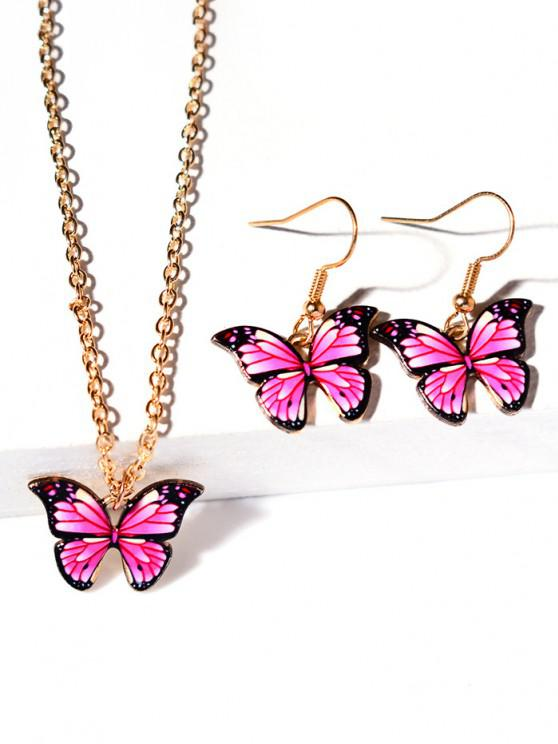 shops Butterfly Pendant Necklace Earrings Set - LIGHT PINK