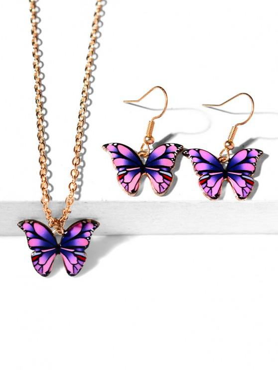 latest Butterfly Pendant Necklace Earrings Set - PURPLE