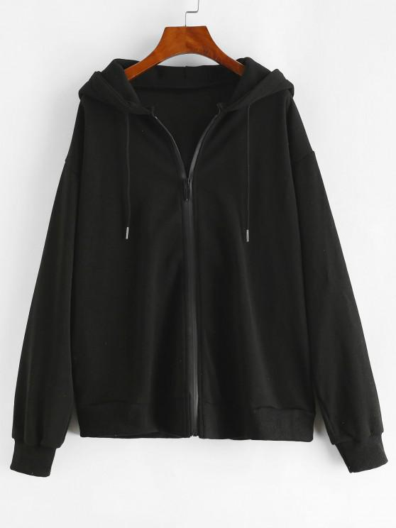 lady Drawstring Zip Up Seam Pockets Hoodie - BLACK S