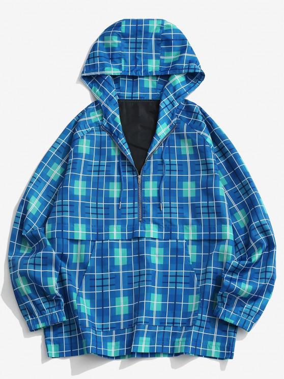 Half Zip Plaid Raglan Sleeve Windbreaker Hoodie - أزرق L