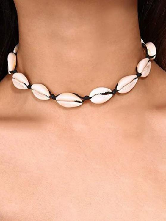 online Cowrie Shell Faux Pearl Necklace - BLACK