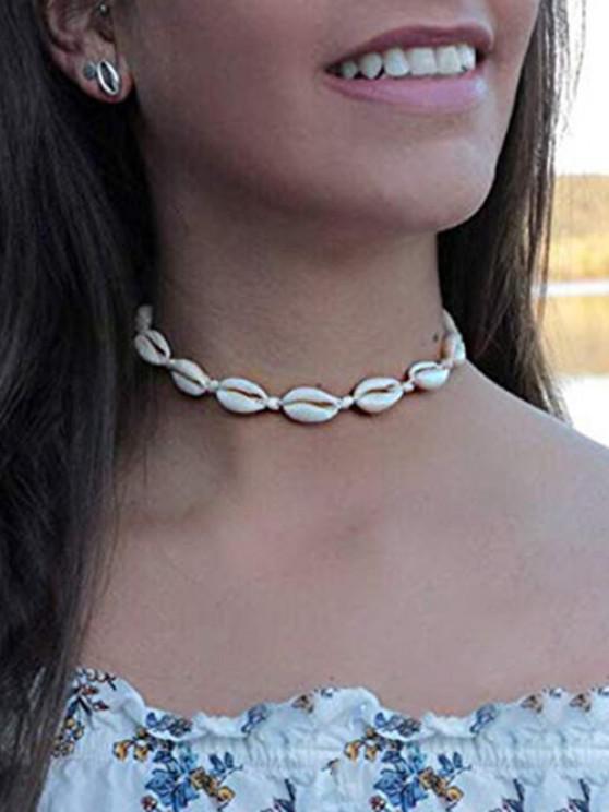 Kauri Muschel Künstliche Perlen Halskette - Weiß