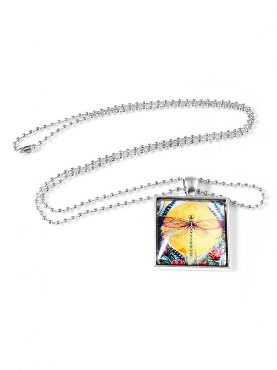 hot Painting Dragonfly Square Pendant Necklace - SILVER