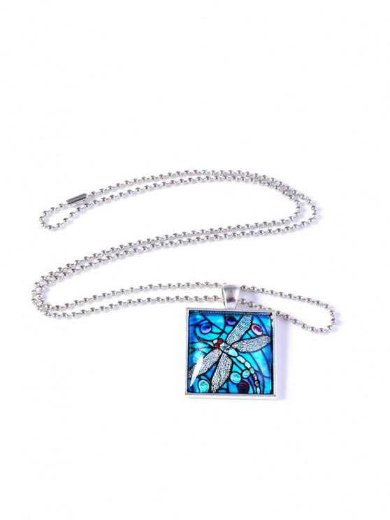 outfit Painting Dragonfly Geometric Necklace - SKY BLUE