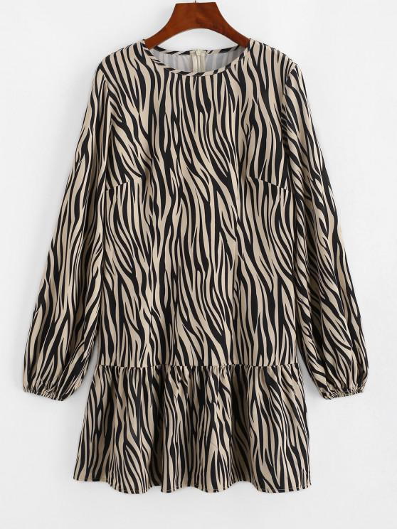 ladies ZAFUL Zebra Print Ruffled Hem Long Sleeve Dress - LIGHT COFFEE XL