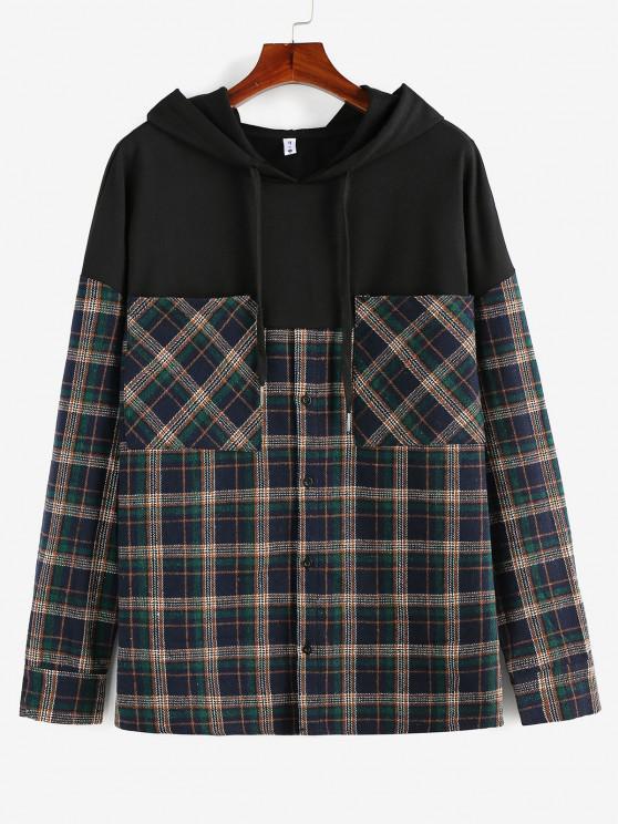 ladies Plaid Print Double Pockets Hoodie - DEEP GREEN XL