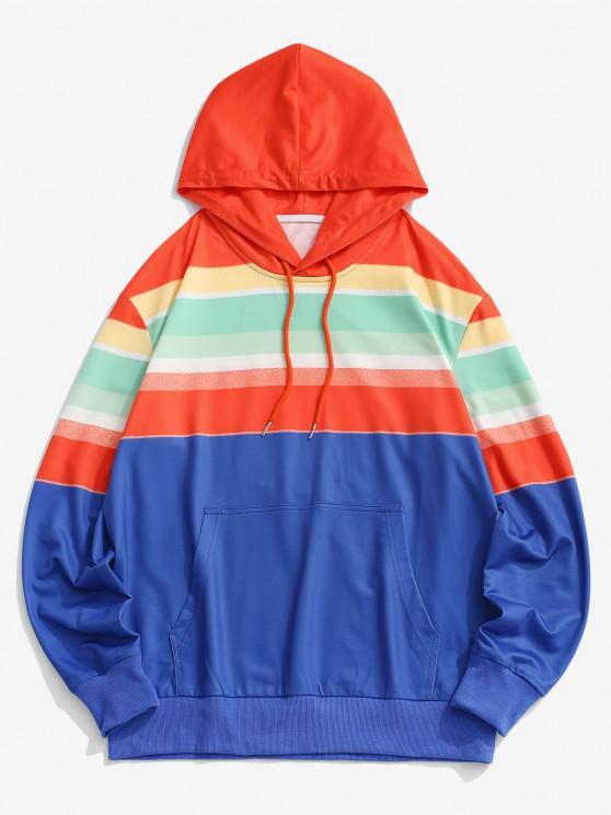 Colorblock Rainbow Front Pocket Hoodie - أزرق S
