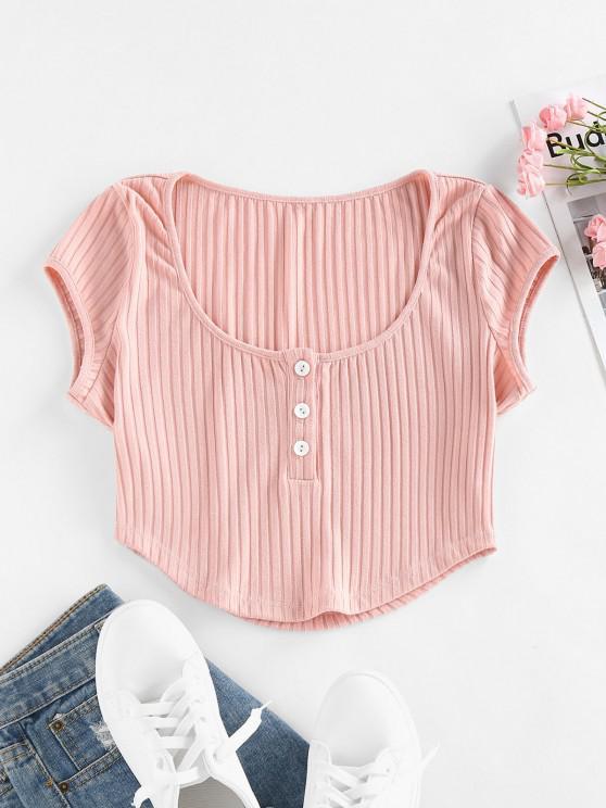 womens ZAFUL Ribbed Henley Curved Hem Crop T Shirt - LIGHT PINK L