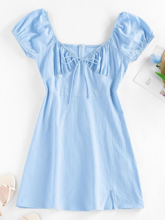 ZAFUL Bowknot Puff Sleeve Slit Mini Dress - أزرق فاتح S