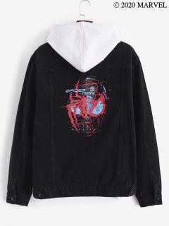 Marvel Spider-Man Pattern Button Up Denim Jacket - Black L