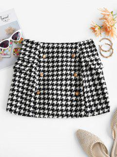 Houndstooth Metallic Buttons Tweed Skirt - Black S