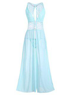 Plus Size Cutout Lace And Mesh Lingerie Gown - Light Blue 2xl