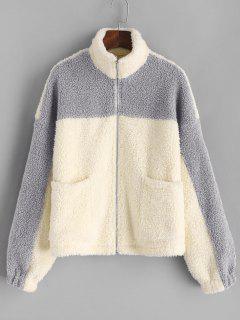 ZAFUL Drop Shoulder Two Tone Teddy Coat - Light Khaki L