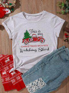 Funny Car Christmas Tree Movies Tee - Light Gray L