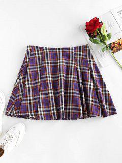 ZAFUL High Waist Plaid Pleated Mini Skirt - Purple Amethyst S