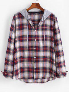 Plaid Pattern Colorblock Panel Hooded Shirt - Deep Red M