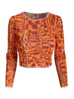 Camiseta De Bebé Con Malla Trasparente Geométrica De Costa - Naranja L
