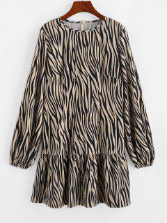 ZAFUL Zebra Print Ruffled Hem Long Sleeve Dress - Light Coffee L