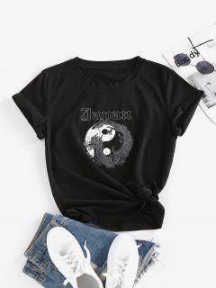 Dragon Yin And Yang Print Chinoiserie T Shirt - Black L