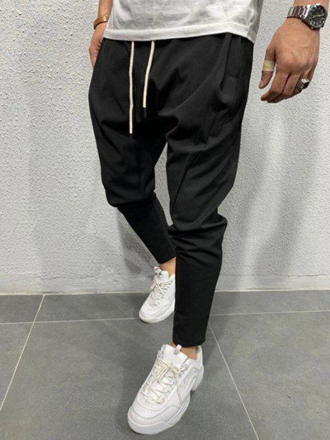 Pantalones Cónicos de Cintura Elástica de Color Sólido - Negro XL Mobile