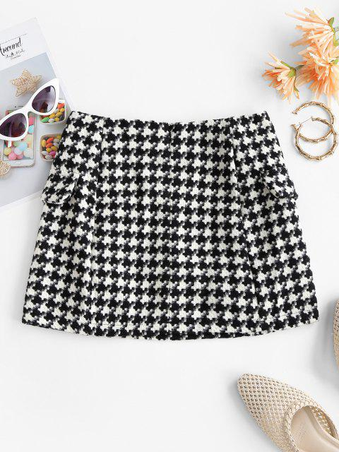 womens Houndstooth Metallic Buttons Tweed Skirt - BLACK L Mobile