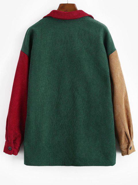 Vestido de Pana con Bolsillos de Bloqueo de Color - Verde Oscuro M Mobile