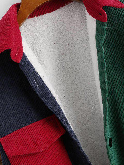 chic Fleece Lined Colorblock Corduroy Shacket - DEEP GREEN M Mobile