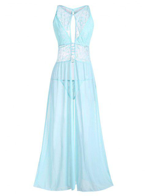 unique Plus Size Cutout Lace and Mesh Lingerie Gown - LIGHT BLUE 2XL Mobile