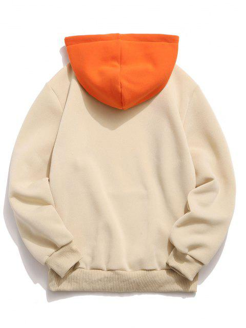 sale Letter Print Contrast Fleece Hoodie - LIGHT YELLOW XL Mobile